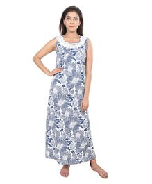 f4cdcd840b 9teenAGAIN Floral Print Sleeveless Nursing Nighty - Blue
