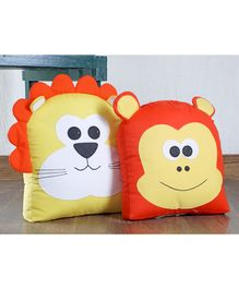 My Gift Booth Cushions Lion & Monkey Design Orange Yellow - Pack of 2