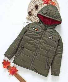 Babyhug Full Sleeves Hooded Jacket With Unit Patch - Green