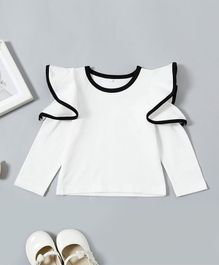 Pre Order - Awabox Solid Full Sleeves Ruffled Top - White
