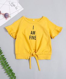Pre Order - Awabox I Am Fine Printed Half Sleeves Top With Front Tie Up - Yellow