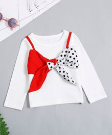 Pre Order - Awabox Full Sleeves Top With Bow Applique - White