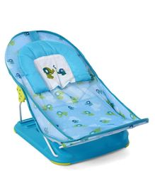 Baby Bather With 2 Level Reclining Seat Elephant Print - Blue