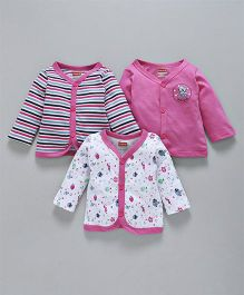 Babyhug Full Sleeves Cotton Jhabla Vest Pack of 3 - Pink & White