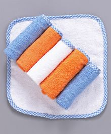 Babyhug Cotton Terry Hand & Face Towels Set of 6 - Blue Orange