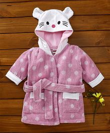 Babyhug Full Sleeves Polka Dot Bathrobe - Pink