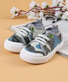 Cute Walk by Babyhug Canvas Shoes Camouflage Print - Grey