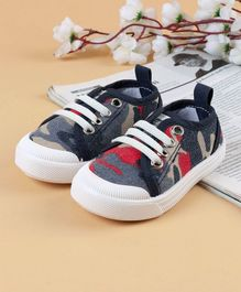 Cute Walk by Babyhug Canvas Shoes Camouflage Print - Navy Blue