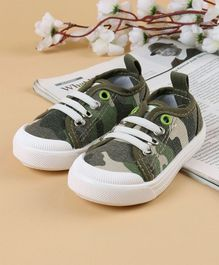 Cute Walk by Babyhug Canvas Shoes Camouflage Print - Green