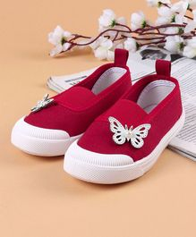 Cute Walk by Babyhug Canvas Shoes Butterfly Motif - Red