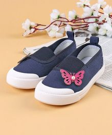 Cute Walk by Babyhug Canvas Shoes Butterfly Motif - Navy Blue