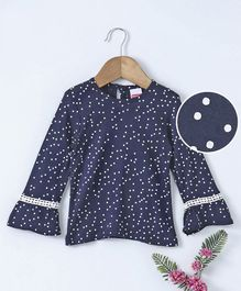 Babyhug Full Sleeves Top All Over Dot Print - Navy