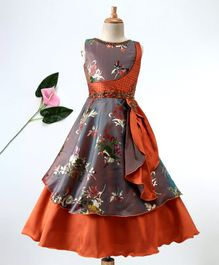 Enfance Floral Print Sleeveless Gown - Orange