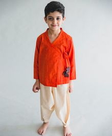 Tiber Taber Overlap Kurta And Dhoti Set - Orange & Beige