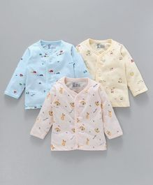Pink Rabbit Full Sleeves Cotton Vests Multiprint Pack of 3 - Sky Blue Pink & Yellow