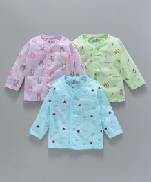 Pink Rabbit Full Sleeves Cotton Vests Multiprint Pack of 3 - Sky Blue Pink & Light Green