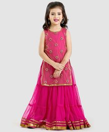 Twisha Tiered Sleeveless Gown With Embroidered Long  Jacket - Pink