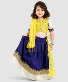 Aglare Embroidery Work Half Sleeves Choli With Lehenga & Dupatta Set - Blue & Yellow