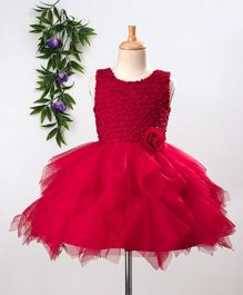 Babyhug Sleeveless Party Wear Frock With Glitter Bodice & Floral Motif - Red
