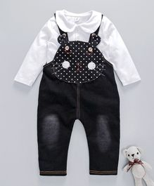 Kookie Kids Full Sleeves Tee With Cat Face Theme Full Length Dungaree - Black & White