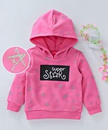 Button Noses Full Sleeves Hooded Sweatshirt Super Star Print - Pink