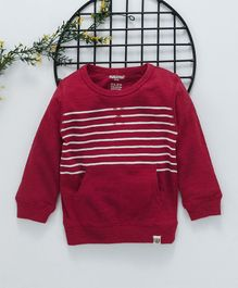 Cucumber Full Sleeves Winter Wear Cotton Striped Tee With Pocket - Maroon