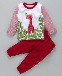 Cucumber Full Sleeves Tee & Lounge Pant Giraffe Print - Red