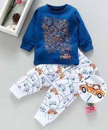 Cucumber Full Sleeves Tee & Lounge Pant Cars Print - Royal Blue