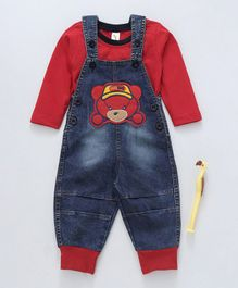 Cucumber Denim Dungaree And Inner Tee Bear Patch - Red Blue