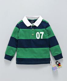 Cucumber Full Sleeves Striped Tee - Green Navy
