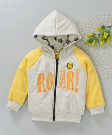 Cucumber Full Sleeves Hooded Jacket Roar Print - Off White Yellow