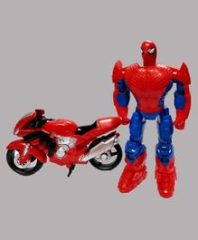 Emob Superman Figure Toy With Motorcycle - Red