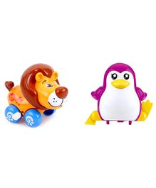 Emob Penguin And Lion Shaped Wind Up Toys Pack of 2 - Purple Yellow