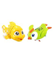 Emob Parrot And Fish Shaped Wind Up Toys Pack of 2 - Green Yellow