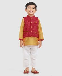 Babyhug Full Sleeves Kurta Pyjama & Jacket - Red & Golden