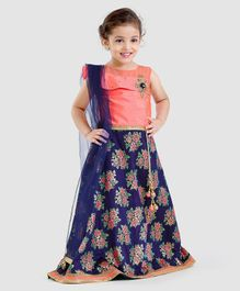 Babyhug Sleeveless Lehenga Choli With Dupatta Zari Work & Floral Print - Peach Blue