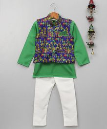 BownBee Full Sleeves Kurta Pyjama With Village Art Waistcoat - Green