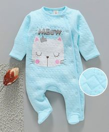 Baby Naturelle & Me Winter Wear Full Sleeves Footed Romper Kitty Print - Aqua Blue