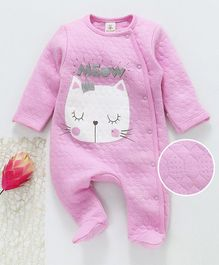 Baby Naturelle & Me Winter Wear Full Sleeves Footed Romper Kitty Print - Pink