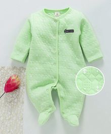Baby Naturelle & Me Winter Wear Full Sleeves Footed Romper Anchor Print - Green