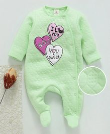 Baby Naturelle & Me Winter Wear Full Sleeves Footed Romper Text  & Heart Print - Light Green
