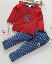 ToffyHouse Full Sleeves Tee And Adjustable Elastic Waist Trouser Bear Print - Red Blue