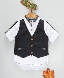 ZY & UP Solid Full Sleeves Shirt With Embellished Mock Waistcoat - Navy