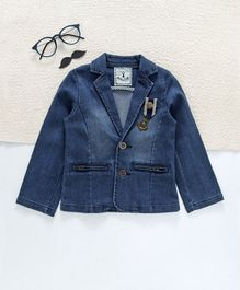 ZY & UP Denim Full Sleeves Blazer - Blue