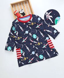 Kookie Kids Space Theme Full Sleeves Dress - Navy