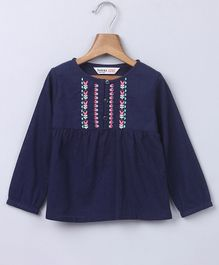 Beebay Full Sleeves Floral Embroidered Top - Navy