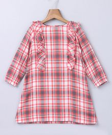 Beebay Full Sleeves Checkered Frill Dress - Pink