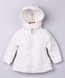 Beebay Full Sleeves Star Print Puffer Jacket - White