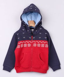 Beebay Full Sleeves Snowflakes Print Zipper Hoodie - Blue & Red