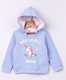 Beebay Full Sleeves Unicorn Printed Hooded Sweatshirt -  Lavender